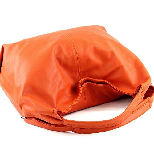 modamoda de - ital. Ledertasche Damenhandtasche Schultertasche Damentasche Nappaleder DS26 Orange 5EWZBQIn