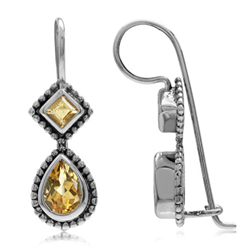 1.08ct. Natural Citrine Antique Finish 925 Sterling Silver Balinese Hook (Antique Citrine Earrings)