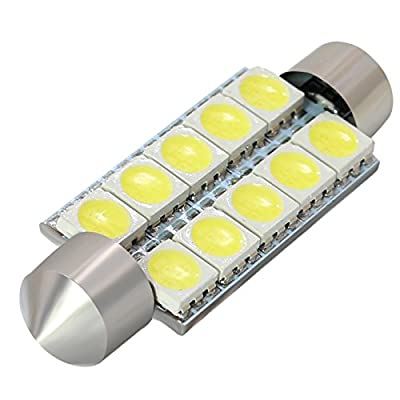 "BOODLED 10PCS C5w 44mm(1.73"") LED Bulb 5050 10-SMD Chipsets WHITE Festoon Interior Dome Map Trunk Cargo LED Bulbs 578 211-2 212-2 579 214 569,DC12V.: Automotive"