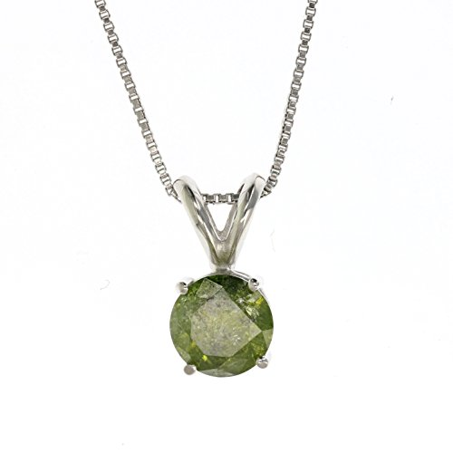 Green Diamond Solitaire (1 CT 14K White Gold Green Diamond Solitaire Pendant With)
