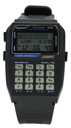 Vintage Retro Black 50 Memory data Bank Illuminator Digital Multifunction Sport Smart Watch