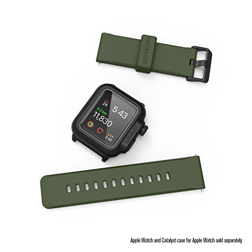 Catalyst Apple Watch Case Silicone Band (24mm) 42mm Apple iWatch Series 3, 2 & 1 and The 44mm Series 4[Stainless Steel Buckle, Soft Yet Resistant iWatch Wristbands/Strap], Army Green