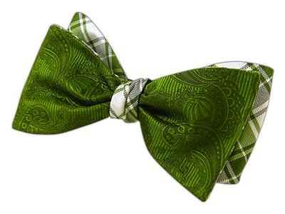 Clip Twill (The Tie Bar 100% Silk Clover Green Twill Summer Reversible Self-Tie Bow Tie)