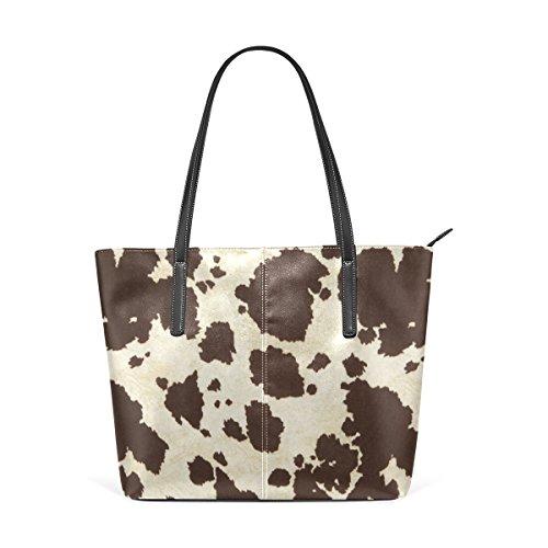 LEISIS Big Cow Fur Print Pattern Women's Leather Tote Shoulder Bags Handbags