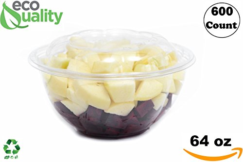 64oz Clear Disposable Salad Bowls with Lids (600 Pack) - Clear Plastic Disposable Salad Containers for Lunch To-Go, Salads, Fruits, Airtight, Leak Proof, Fresh, Meal Prep | Rose Bowl Container (64oz)