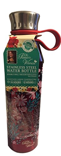 The Pioneer Woman Stainless Steel Water Bottle 18 Ounce 24 Hrs Cold 12 Hrs Hot (Enterprises Water Lily)