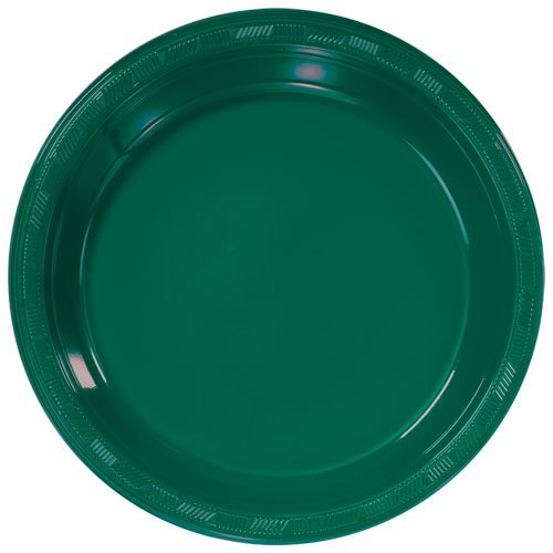 Hunter Plastic Plate (Hanna K. Signature Collection 50 Count Plastic Plate, 10-Inch, Hunter Green)