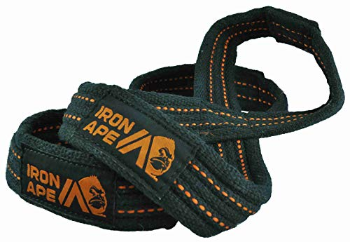 IRON APE Figure 8 Straps for Deadlift, Weight Lifting, Shrugs, and Weightlifting. Heavy Duty Cotton, 4 Sizes (L)
