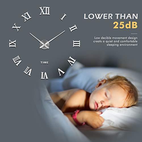 SOLEDI 3D DIY Wall Clock, Roman Numerals Clock Frameless Mirror Surface Wall Sticker Home D cor for Living Room Bedroom, Silver