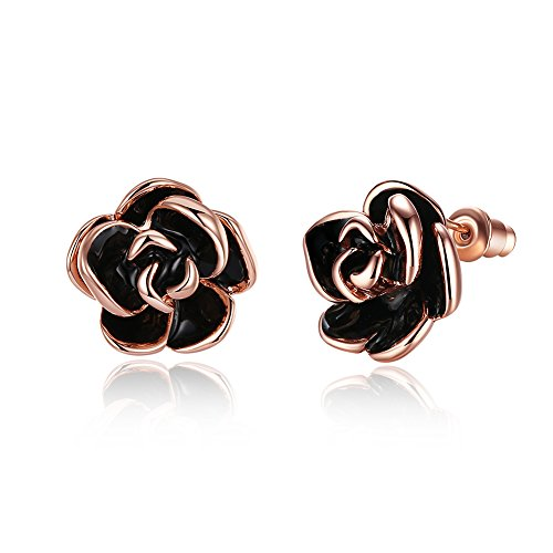 18K Rose Gold Plated Black Rose Flower Stud Earrings for Women Girls Black Earrings Studs, by DreamSter