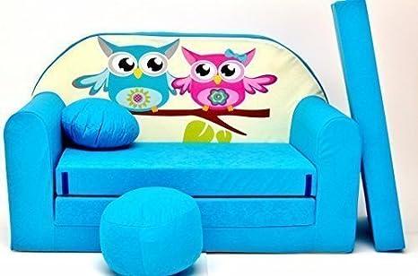 in Tessuto Divano Letto con Pouf//poggiapiedi//Cuscino per Bambini Blu PRO COSMO B30 168/x 98/x 60/cm