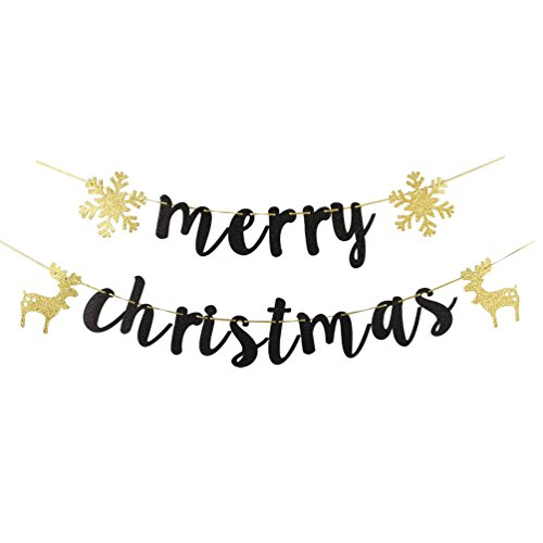 - INNORU Black Glitter Merry Christmas Banner - Christmas Party Props Bunting - Home Holiday Decorations Sign