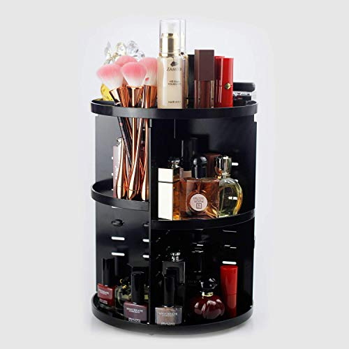 (Townhouse 360 Degree Rotating Adjustable Acrylic Cosmetic Storage,Makeup Organizer, Large Capacity Make up Caddy Shelf Cosmetics Organizer Box,Vanity Organizer,Display Case with 4 Layers,Round Black)