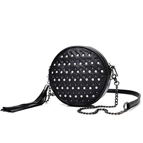 Chain Bag Shoulder Bag Black shoulder Bag Black Mosaic Rivet Fashion Diamond Girl Handbag Shoulder PnBWIPR