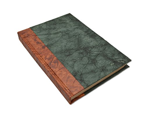 Nepali Eco Writing Journal with Vintage Handmade Lokta Paper, Clean-Cut, Made in The Himalayas of Nepal, 6x9 Inches (Forest Green, Standard)