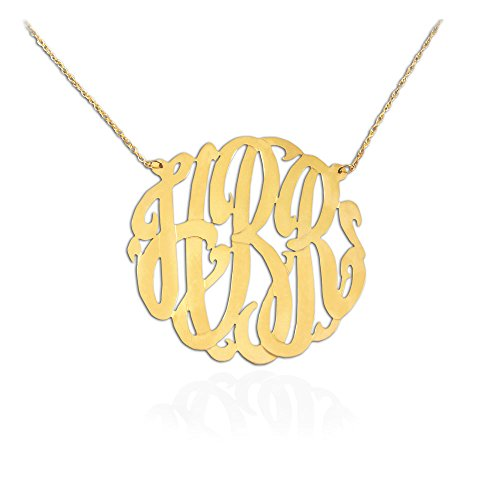Jewelry Handcrafted Designer - Monogram Necklace - 1.25 inch Handcrafted Designer - 24K Gold Plated Sterling Silver - Personalized - Monogram Initial Necklace - Made in USA