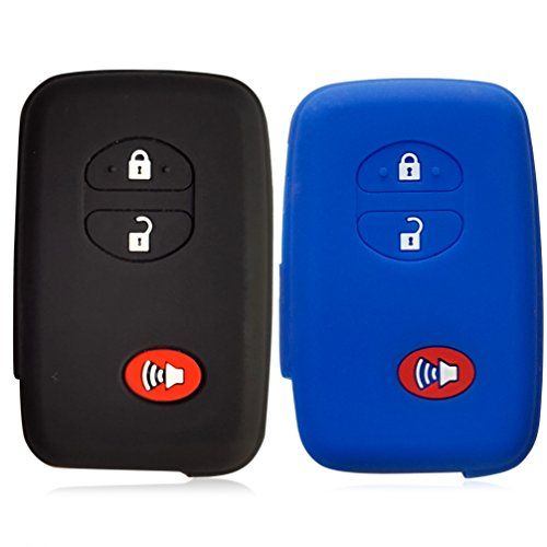 2Pcs DOBREV 3 Button Silicone Rubber Cover Holder Protector Case for TOYOTA Rav4 Prius Highlander Land cruiser Sequoia 4Runner Venza Camry Avalon Prado (black and blue) - Inca Blue Jackets