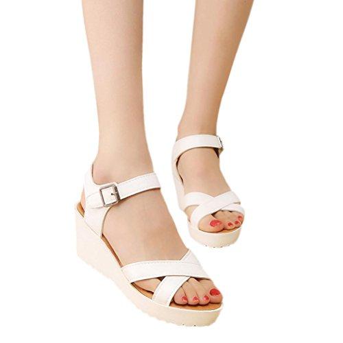 S&H-NEEDRA Mode Frauen Sandalen Sommer Böhmen Schuhe Wedges Weave Middle Heel Sandalen Wh