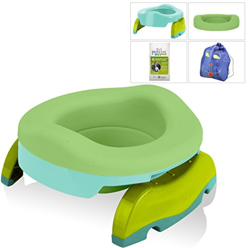 - Kalencom Potette Potty Value Bundle: Potette Plus 2-in-1 Travel Potty | Home-Use Collapsible Reusable Potty Liner | 10-Pack Disposable Potty Liners | Drawstring Carry Bag (Teal/Green)