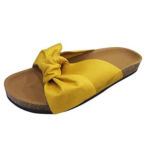 SUNyongsh Fashion Women Bow Tie Slipper Flat Thick Bottom Heel Sandals Rome Beach Shoes Yellow ()