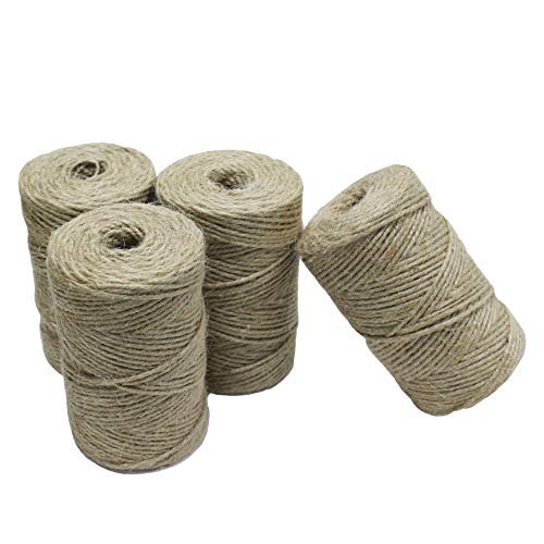 Gardzen Nature Jute Twine 4-Pack, Each Roll is 328 ft, Natural 3Ply Twisted String Rope for Toys Craft Gift DIY Gardening - Twisted Natural