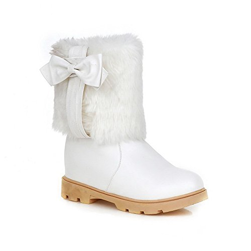 Imitated Spun Gold White Heighten A amp;N Leather Boots Bowknot Inside Ladies 74ff0WwxqI