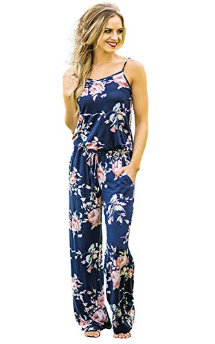 AMiERY Women Sleeveless Floral Print Casual Jumpsuit Dress (L, Blue)