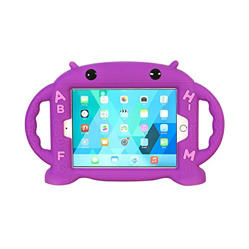 CHINFAI iPad Mini Case for Kids Shockproof Silicone Rubber Cover Cartoon Robot Stand Case with Handles for Apple iPad Mini 1 / Mini 2 / Mini 3 / Mini 4 (Purple)