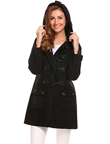 Coat Jacket Duffle - ELESOL Women's Hoodie Plus Size Jacket Wool Blend Duffle Toggle Pea Coat Black L