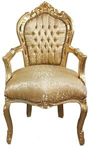 Casa-Padrino barroco Cena de la silla del oro diseño floral/oro con apoyabrazos