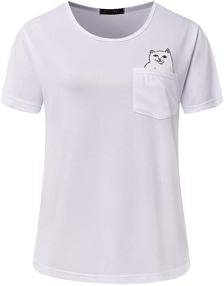 Mujer Impresión Blusa Camisa Redondo Basica Camiseta Suelto Verano Tops Casual Fiesta T-Shirt, Bolsillo Top Blanco S: Amazon.es: Ropa y accesorios