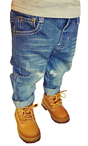 EMAOR Unisex Kids Baby Elastic Waist Ripped Holes Denim Pants Jeans Blue, US 5T