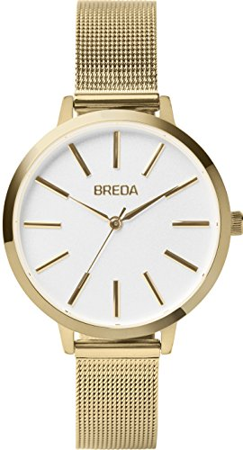 BREDA Women's 'Joule' 1731a Gold Round Fashion Analog Display Quartz with Gold Stainless Steel Mesh Strap Wrist Watch, 37mm