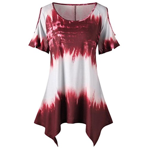 Plus Size Shirt,ZYooh Fashion Women Irregular Tops O-Neck Cold Shoulder T-Shirt Short Sleeves Blouse (XXXXXL, Wine)