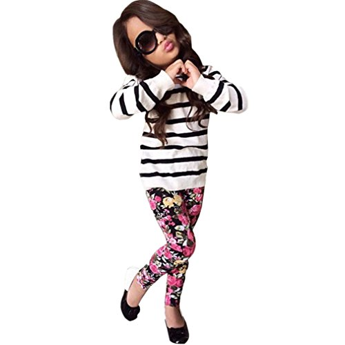 Winhurn Baby Kids Girls Black & White Stripes Long Sleeve Top + Floral Trousers 1 Set (8-9 Years, (Kids Black And White Striped Tights)