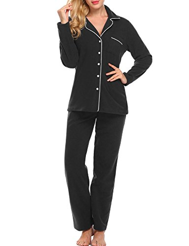 Ekouaer Loungewear Women痴 Sleepwear Fleece Long Sleeve Pajama Set (Black,S)