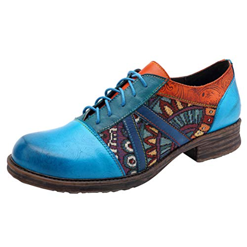 Oxford Slip Heels - Mordenmiss Women's Bohemian Oxford Shoes Wingtip Heels Ankle Booties Brogue Shoes Blue US 10