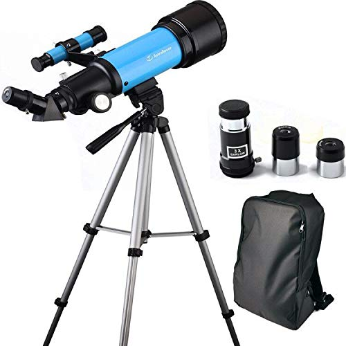 EastPole 70mm Telescope for Beginners and Kids, Refracter Travel Scope for Viewing Moon Stargazing and Outdoor Activities, FMC Lens, BAK4 Prism, Metal Tripod and 2019 New Smartphone Mount (Blue) by EastPole