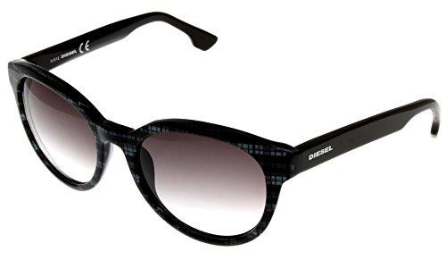 Diesel Sunglasses Black Grey Plaid/Brown Arms Unisex DL0041 20B Round