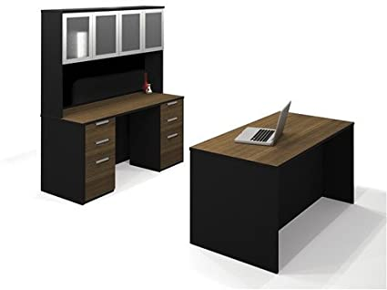 Bamboo U0026 Black Office Set: Credenza With Hutch And Executive Desk