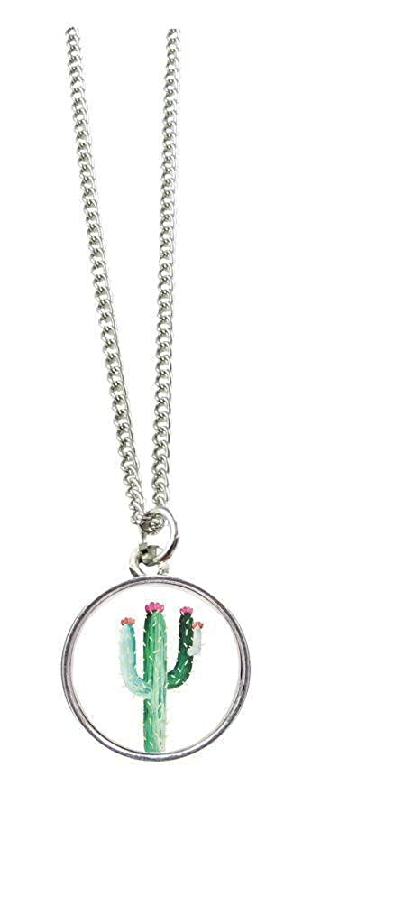 Cactus Silver Pendant and Silver Chain Necklace Jewelry Fashion Trendy Gift
