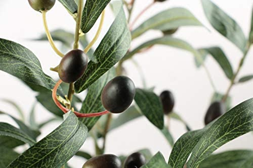 Ivalue 28 Artificial Olive Plants Branches Fake Plants Stems Greenery Leaves with Fruits for Decoration