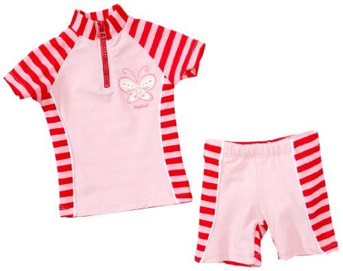 Playshoes Baby - Mädchen Babybekleidung/ Badebekleidung UV-Schutz nach Standard 801 und Oeko-Tex Standard 100 Bade-Set Schmetterling mit Streifen und Windeleinsatz 460042, Gr. 74/80, Rosa (788 rot/rosa)