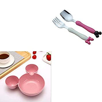 Bowls & Plates Baby Tableware Set Wheat Straw Bowls Infant Feeding Plate With Fork Spoon Childr Baby