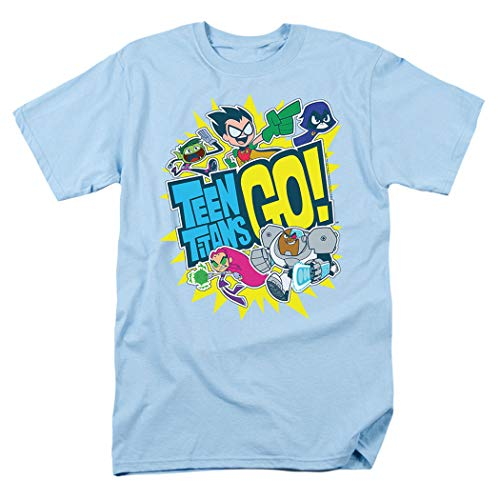 Teen Titans Go! Squad Adult T Shirt & Exclusive Stickers (Large) Light - T-shirt Adult Joy