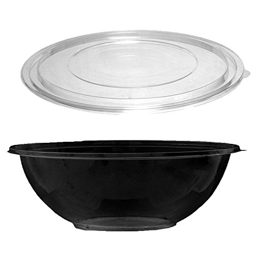 Party Essentials N332017 Soft Plastic 320-Ounce Serving/Catering Bowls, Black with Clear Lids, Set of 2 by Party Essentials