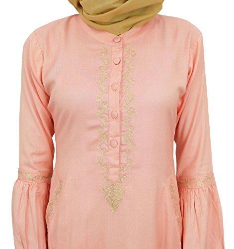 mit Bimba Peach Aari 52 Arbeit Hijab Frauen islamischem Jilbab Abaya Mädchen Kleid Muslim qFZrBHq
