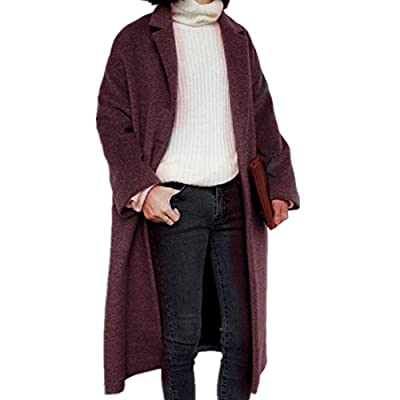 ForeMode Women with Turn Down Collar Grid Open Front Long Sleeve Asymmetric Hemline Coat