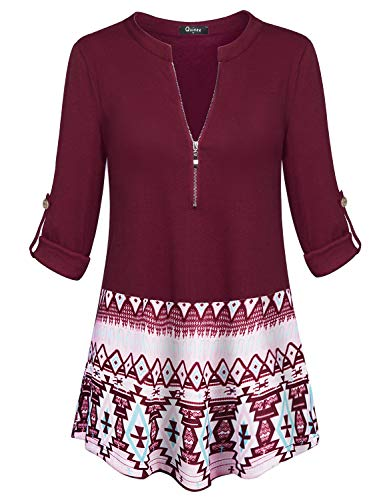 Quinee Maternity Tunic, Latched Mama Oversized Roll-Up Long Sleeve Zip Up V-Neck Loose Tops for Women Work Tunic Blouses Casual Henleys Pleated Front Fitted Zipper Trendy Shirts Wine XXL