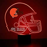 Mirror Magic Store Cleveland Browns Football Helmet LED Night Light with Free Personalization - Night Lamp - Table Lamp - Featuring Licensed Decal